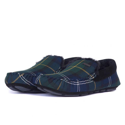 Barbour Monty Moccasin House Slippers Seaweed Tartan