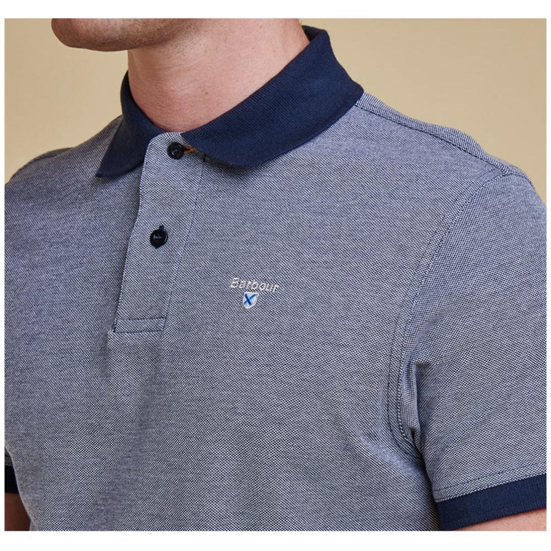 Barbour Sports Short Sleeve Mix Polo Shirt Midnight Blue