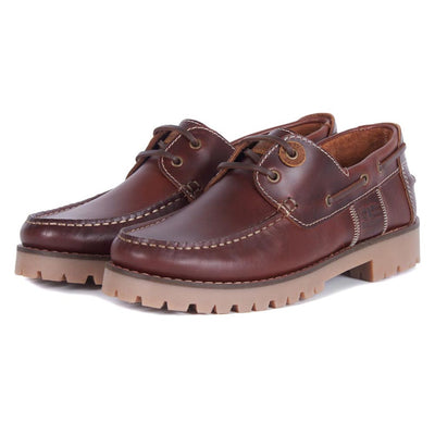 Barbour Stern Leather Boat Shoes Mahogany