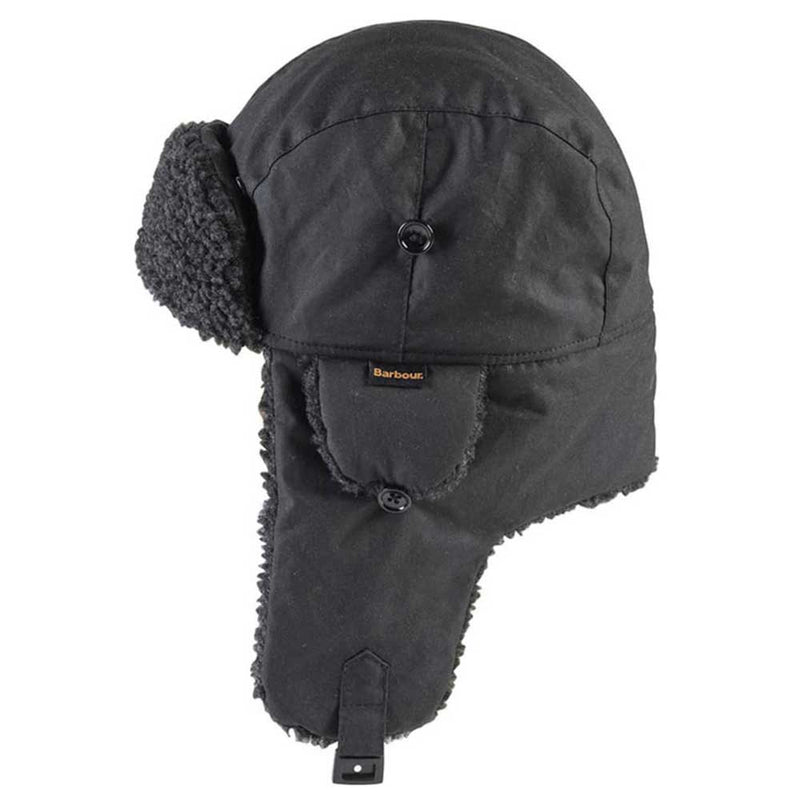 Barbour Fleece Lined Wax Trapper Hat Black