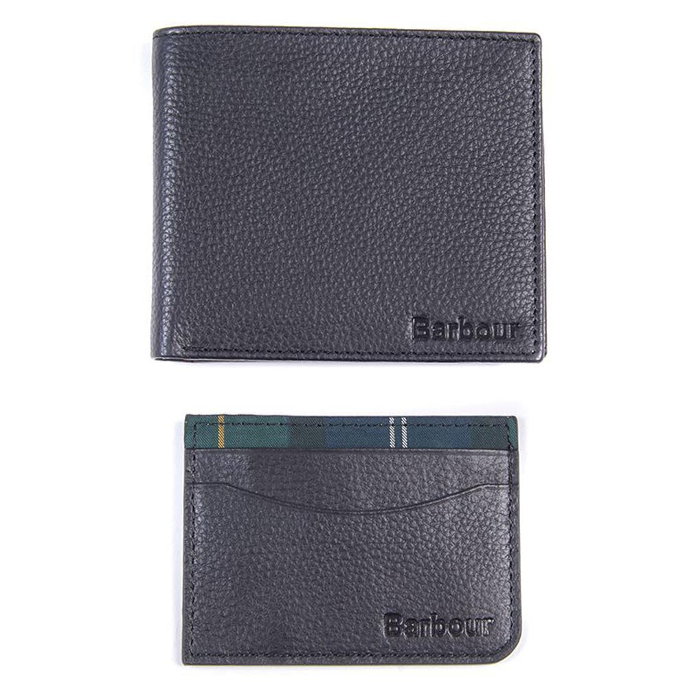 Barbour Wallet / Cardholder Gift Set Black Seaweed