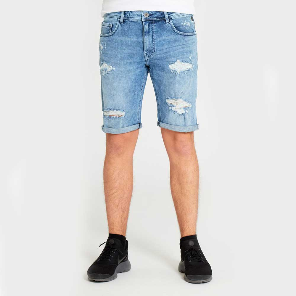 DML Jeans Ikos Denim Shorts In Ripped Light Wash
