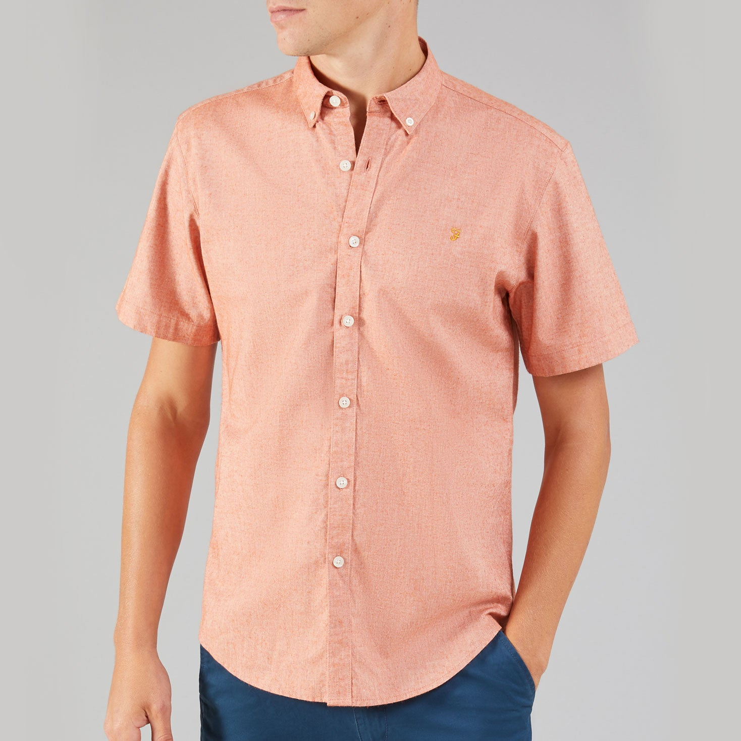 Farah Steen Slim Short Sleeve Oxford Shirt GoldFish
