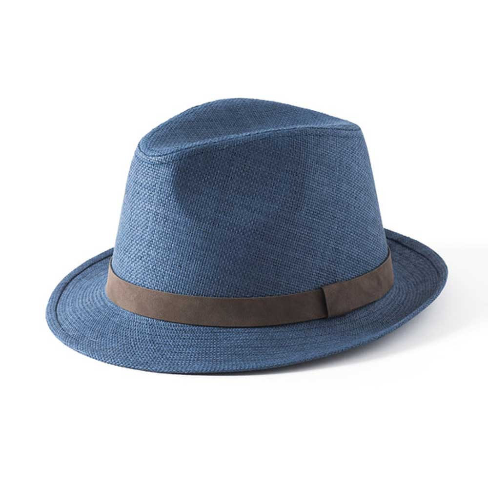 Failsworth Hats Straw Trilby Hat Navy