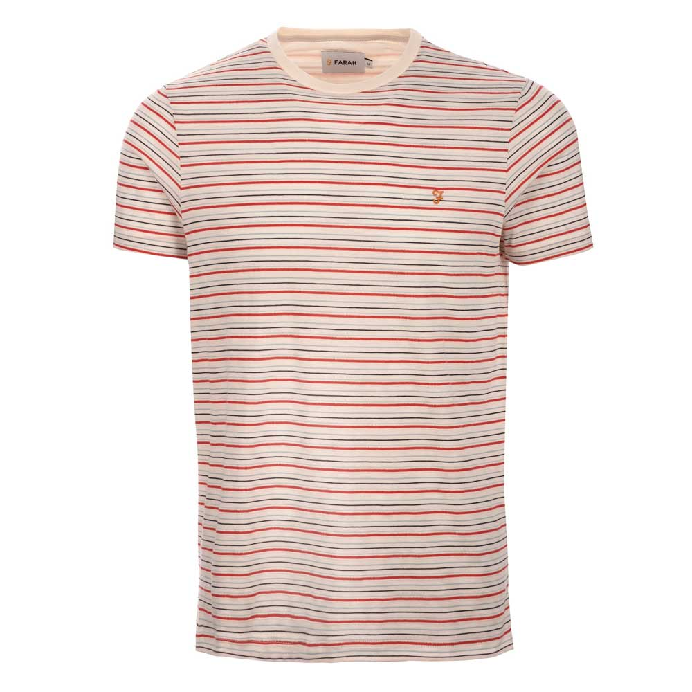 Farah Fawkes Short Sleeve Stripe T-Shirt Ecru