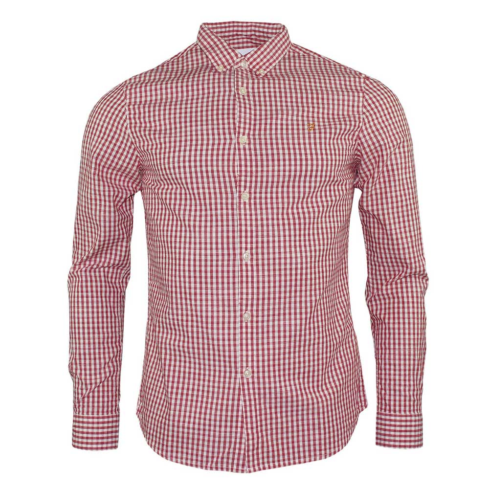 Farah Johan Long Sleeve Slim Check Shirt Fire Brick Red