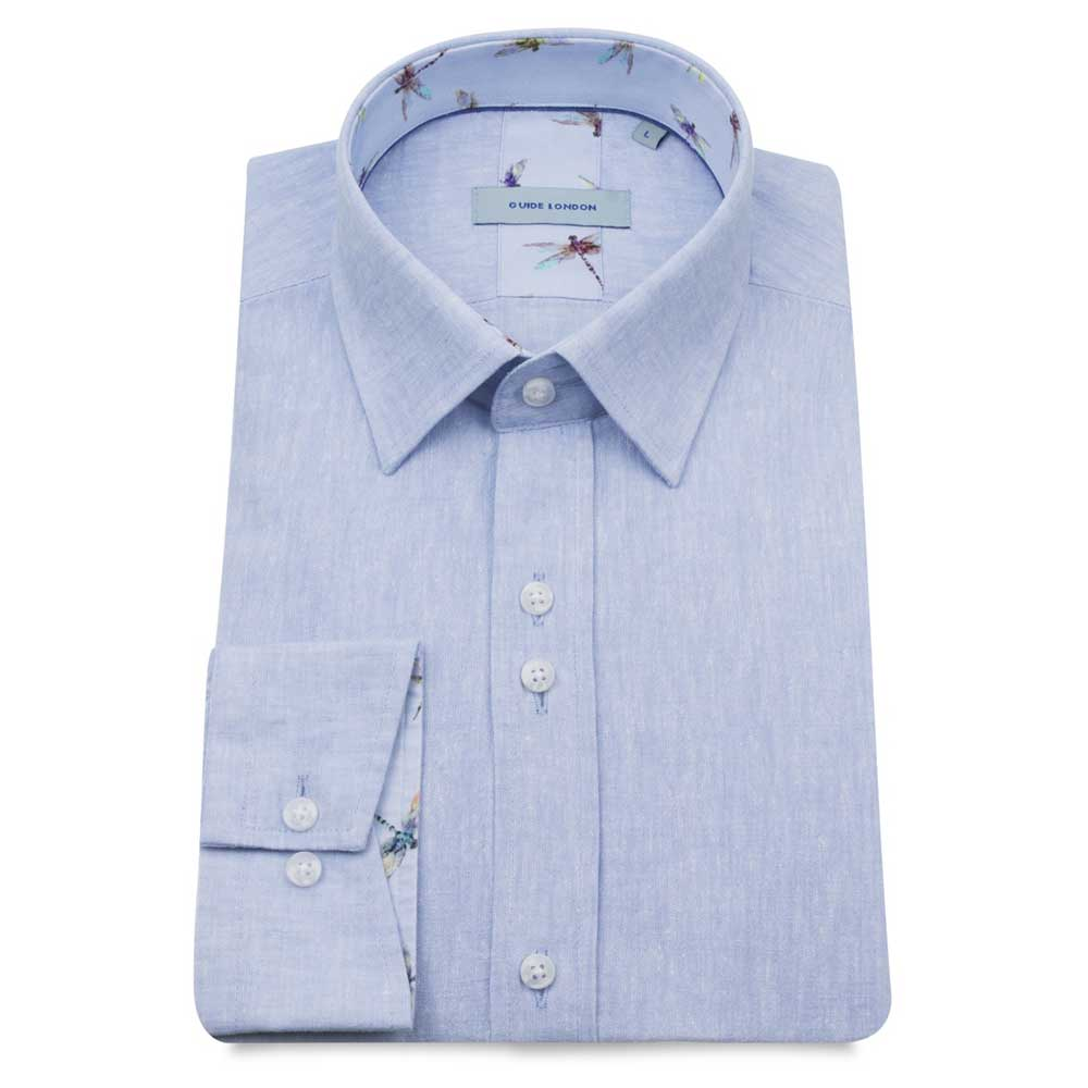 Guide London Long Sleeve Linen Shirt In Sky Blue LS75025