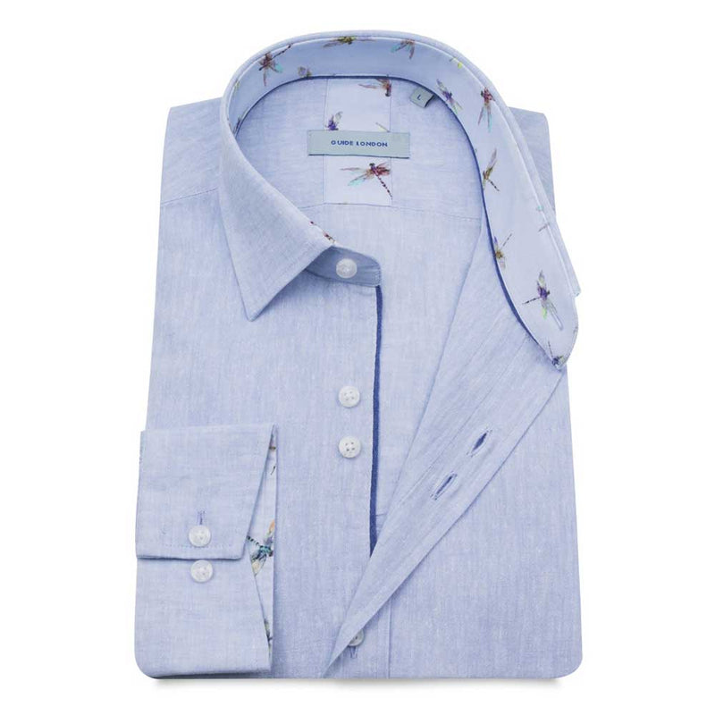 Guide London Sky Blue Linen Long Sleeve Shirt LS75025