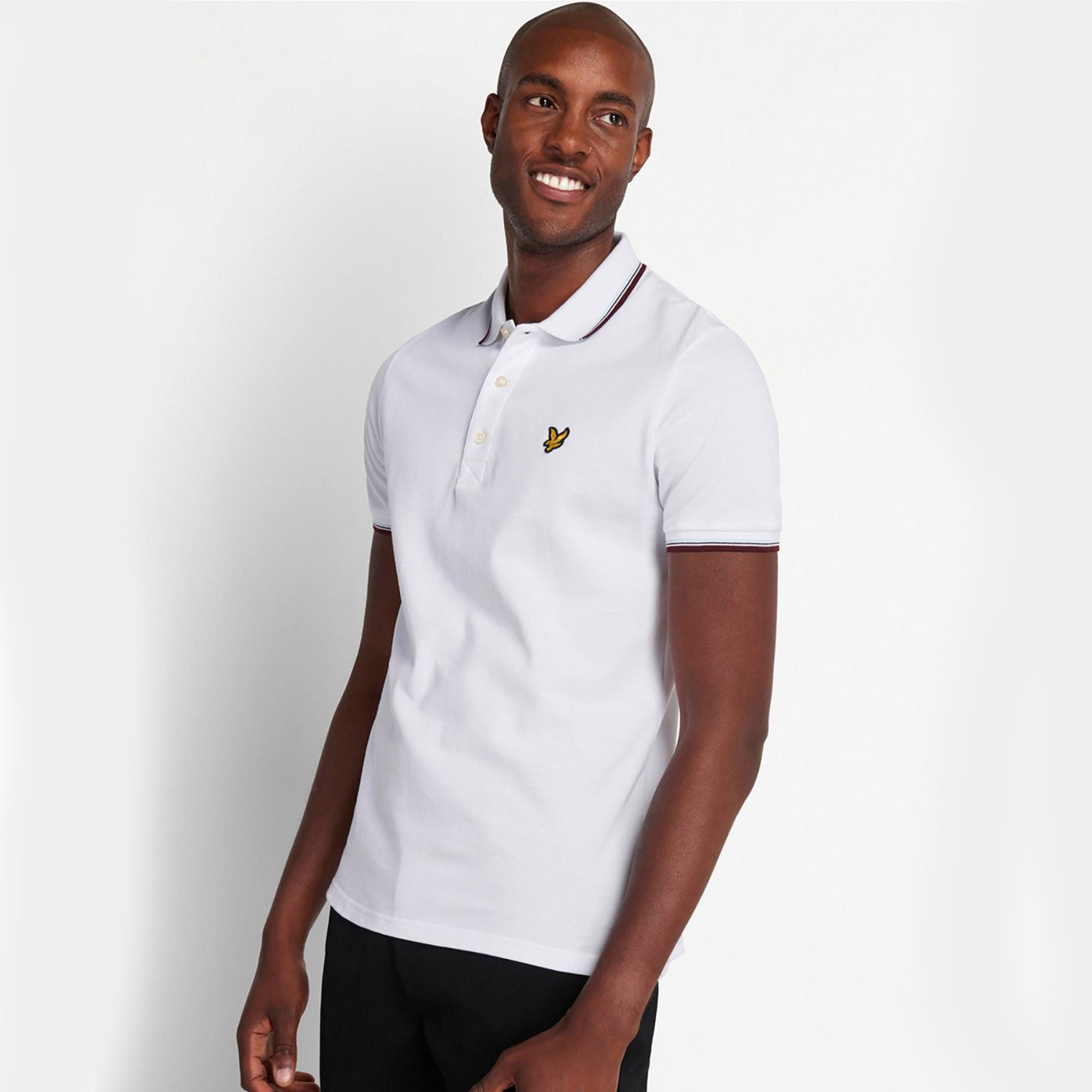 Lyle & Scott Tipped Polo Shirt White and Burgundy