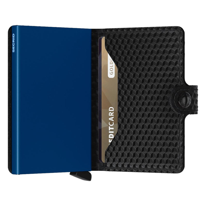 Secrid Miniwallet Cubic Black / Blue Leather Wallet
