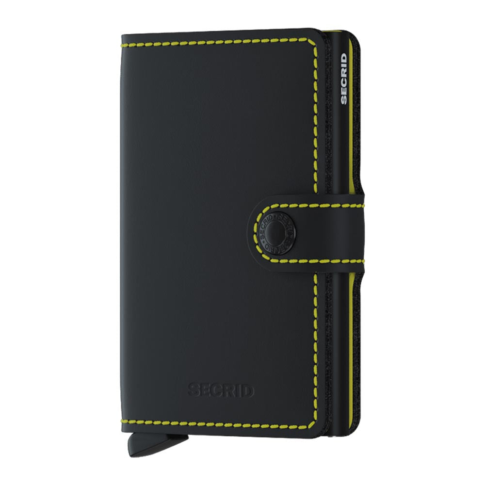 Secrid Miniwallet Matte Black and Yellow Leather Wallet