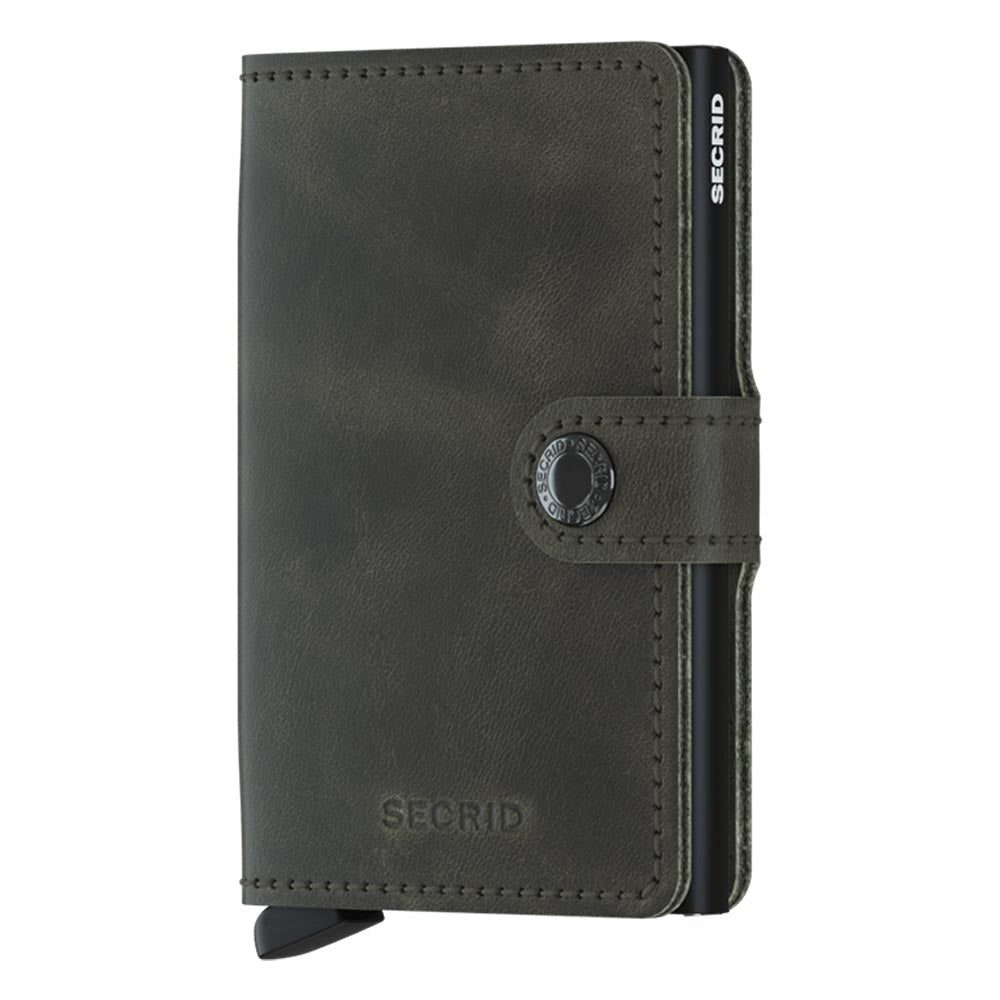 Secrid Miniwallet Vintage Olive / Black Leather Wallet