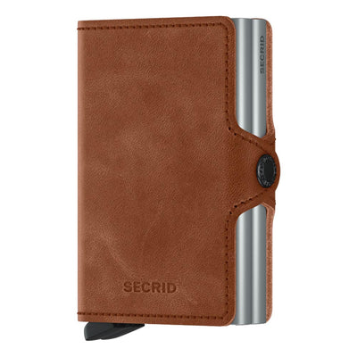 Secrid Twinwallet Vintage Cognac Silver Leather Wallet