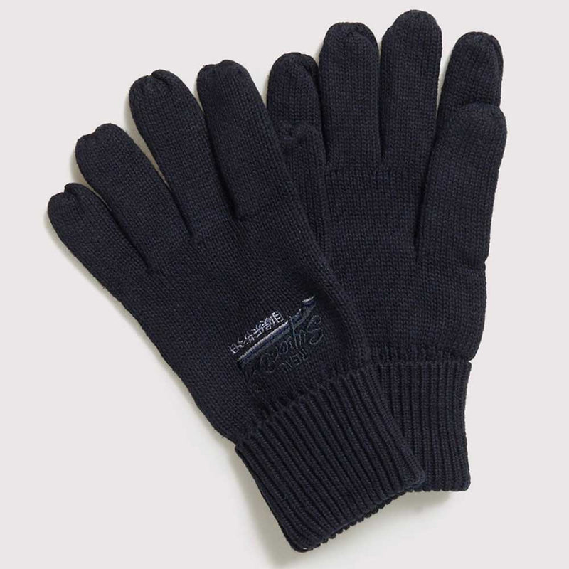 Superdry Mens Orange Label Knitted Gloves Navy Grit