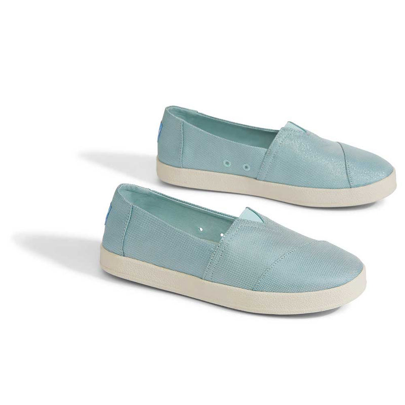 TOMS Pastel Turquoise Shiny Woven Women's Avalon Slip-Ons