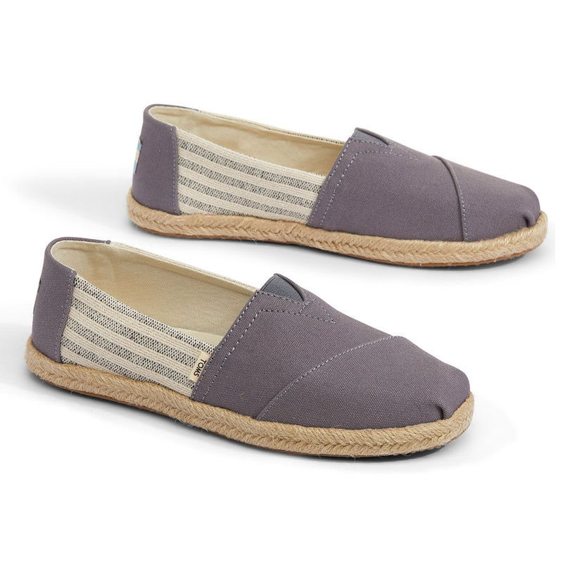 TOMS Drizzle Grey Ivy League Striped Women's Espadrilles
