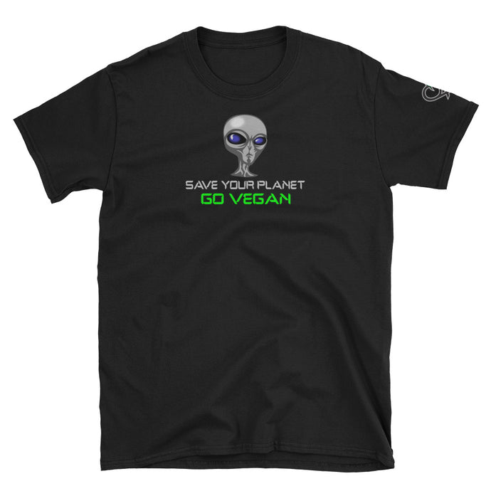 Save Your Planet Go Vegan With Logo On Sleeve - Short-Sleeve Unisex T-Shirt - Compassion Fashion4u