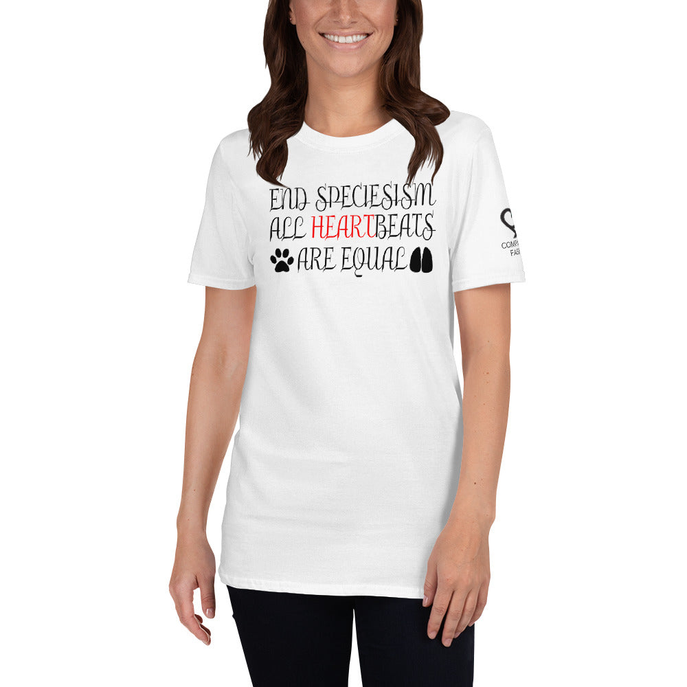End Speciesism All Heartbeats Equal With Logo On Sleeve - Short-Sleeve Unisex T-Shirt - Compassion Fashion4u