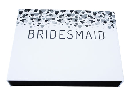 Bridesmaid - Cascading Hearts fill-in-the-blank gift box - trinky things