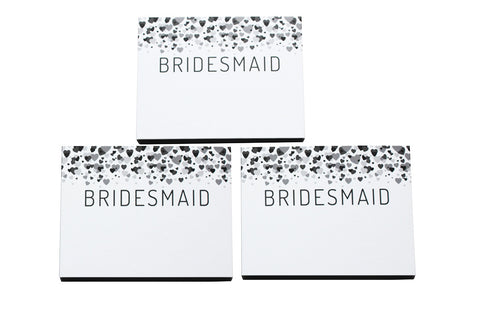 Set of 3 - Bridesmaid Cascading Hearts fill-in-the-blank gift box - trinky things
