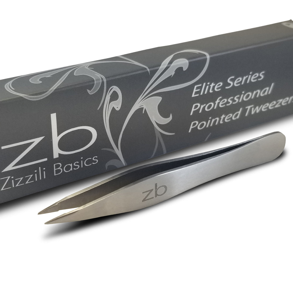 satin finish pointed tweezer with box