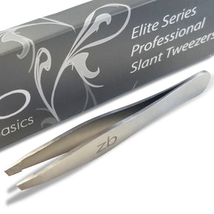satin finish slanted tweezer with box