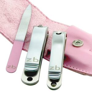 fingernail clipper, toenail clipper,  and nail file with pink case