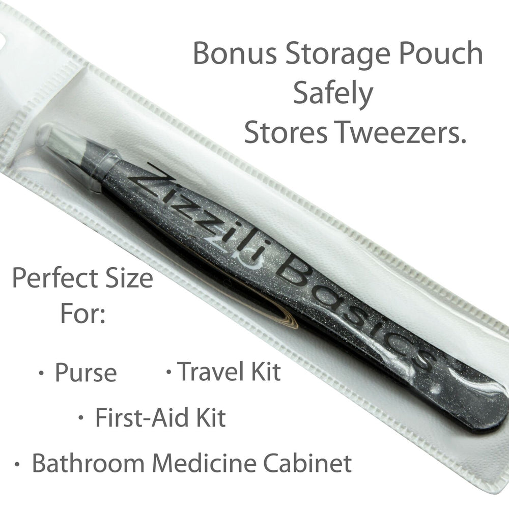 tweezer with tip guard inside carry pouch