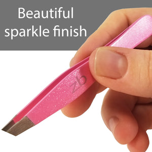 "hand holding slanted tweezer, ""beautiful sparkle finish"""