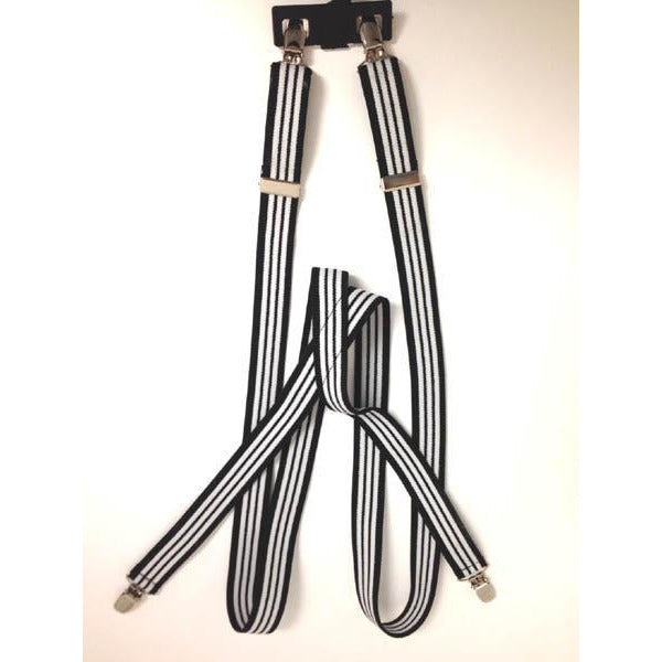 Striped Suspenders with Clips-black and white - Make It Up Costumes
