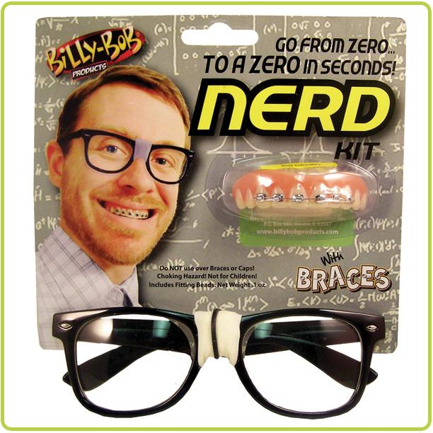 Billy Bob Fake Nerd Kit with Glasses and Braces - Make It Up Costumes