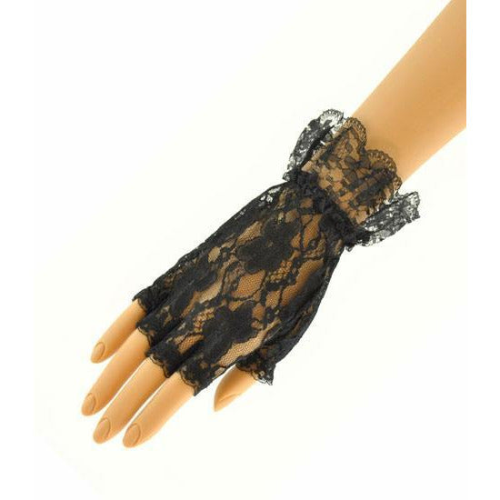 Black Fingerless Lace Gloves - Make It Up Costumes