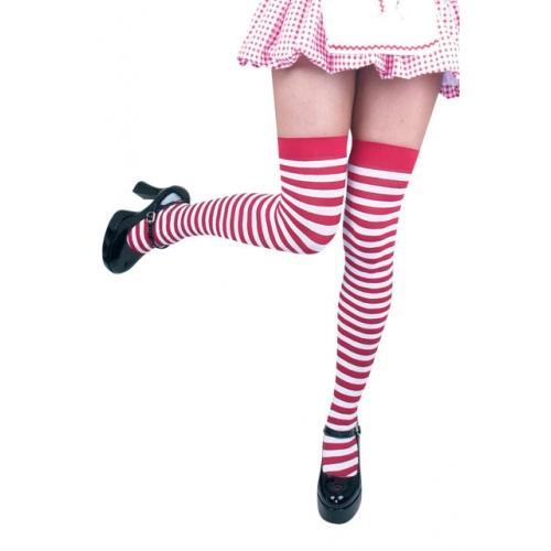 White Striped Thigh Highs - Make It Up Costumes