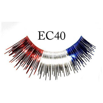 Red, Silver and Blue Colored Lashes - Make It Up Costumes