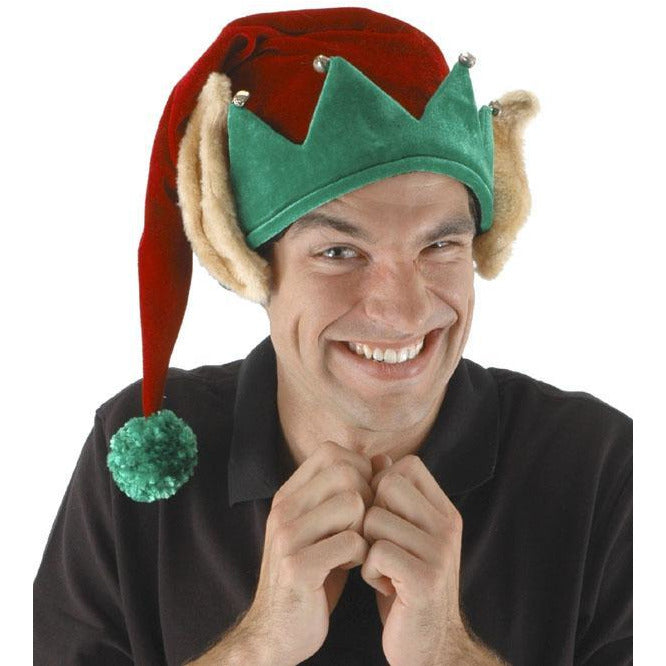Red Elf Hat with Ears - Make It Up Costumes
