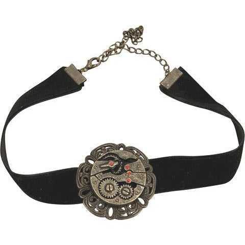 Steampunk Black Velvet Gear Chocker - Make It Up Costumes