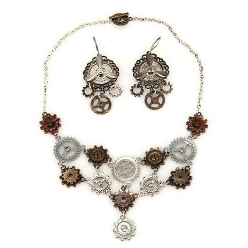 Steampunk Multi Gear Necklace and Earring Set - Make It Up Costumes