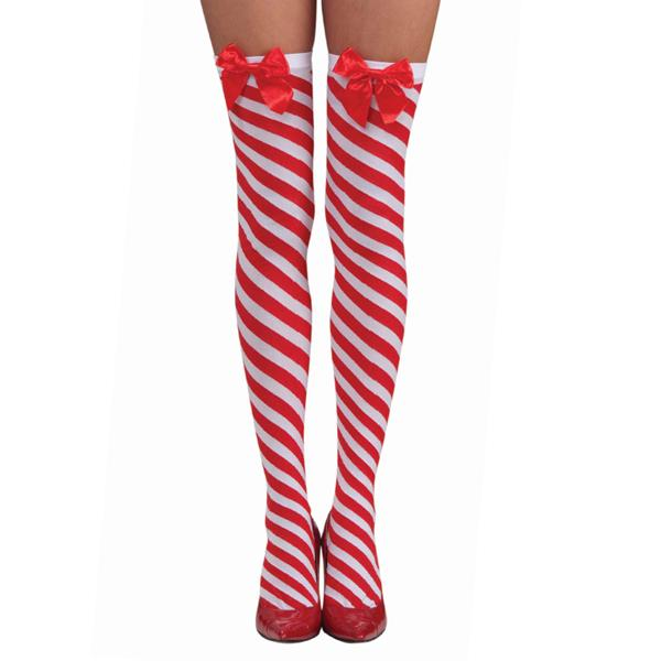 Candy Cane Thigh High Stockings - Make It Up Costumes