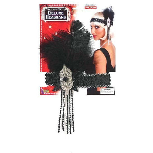 Deluxe Silver and Black Flapper Headband - Make It Up Costumes