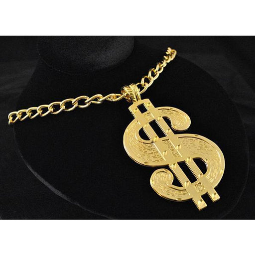 Gold Dollar Sign Chain Necklace - Make It Up Costumes