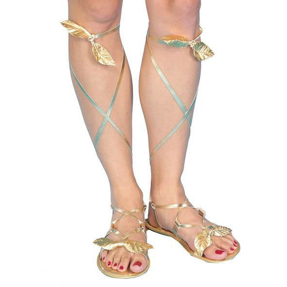 Women's Golden Sandals - Make It Up Costumes