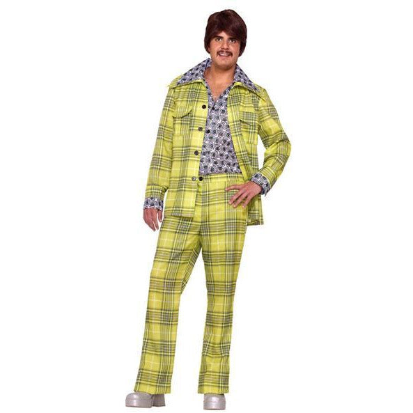 Men's 70's Suit Costume - Green Plaid - Make It Up Costumes