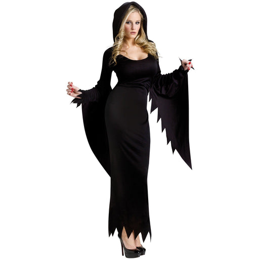 Long Black Hooded Dress - Make It Up Costumes
