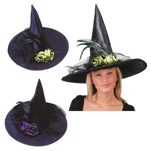 Satin Witch Hat With Tulle and Fabric Flowers - Make It Up Costumes