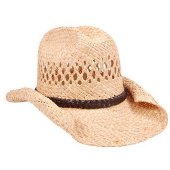 Rolled Rim Straw Cowboy Hat - Make It Up Costumes