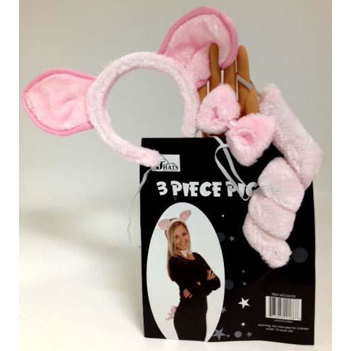 Pig Costume Accessories Kit with Tail, Ears and Bow Tie - Make It Up Costumes