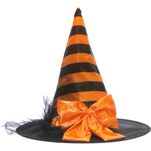 Striped Satin Witch Hat with Bow - Make It Up Costumes