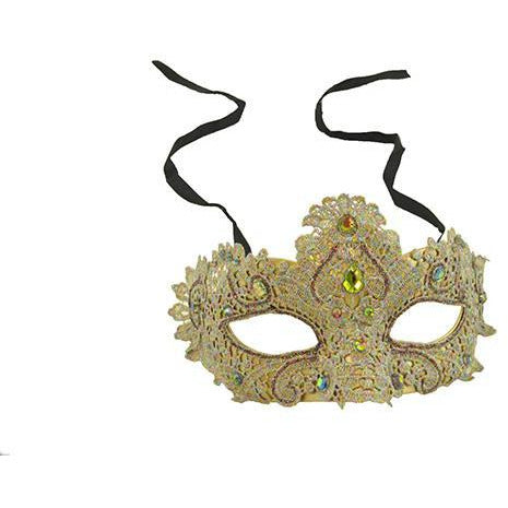 Venetian Lace Mask with Rhinestones - Make It Up Costumes