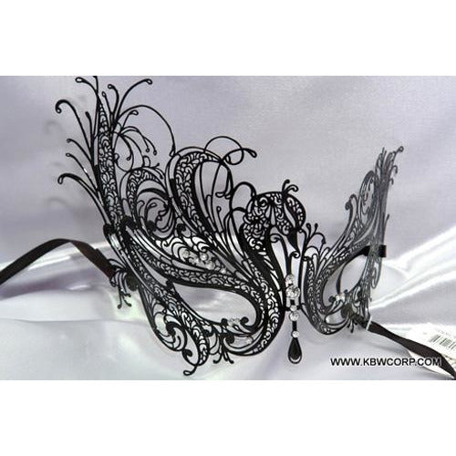 Black Laser-Cut Venetian Masquerade Mask - Make It Up Costumes