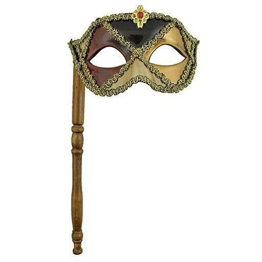 Harlequin Eye Mask on a Stick - Make It Up Costumes
